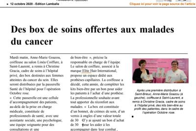 Box de soins offertes aux malades du cancer - Publication Ouest France
